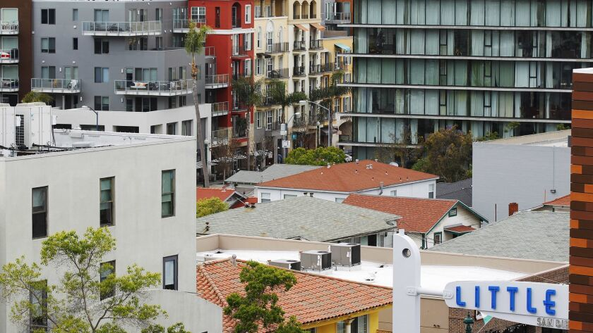 Little Italy in San Diego has undergone a residential boom in the last few years, shown here April 30, 2018.