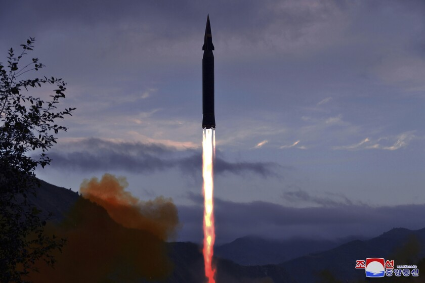 """This photo provided by the North Korean government shows what North Korea claims to be a new hypersonic missile launched from Toyang-ri, Ryongrim County, Jagang Province, North Korea, Tuesday, Sept. 28, 2021. North Korea said Wednesday, Sept. 29, 2021 it successfully tested the new hypersonic missile it implied was being developed as nuclear capable as it continues to expand its military capabilities while pressuring Washington and Seoul over long-stalled negotiations over its nuclear weapons. Independent journalists were not given access to cover the event depicted in this image distributed by the North Korean government. The content of this image is as provided and cannot be independently verified. Korean language watermark on image as provided by source reads: """"KCNA"""" which is the abbreviation for Korean Central News Agency. (Korean Central News Agency/Korea News Service via AP)"""