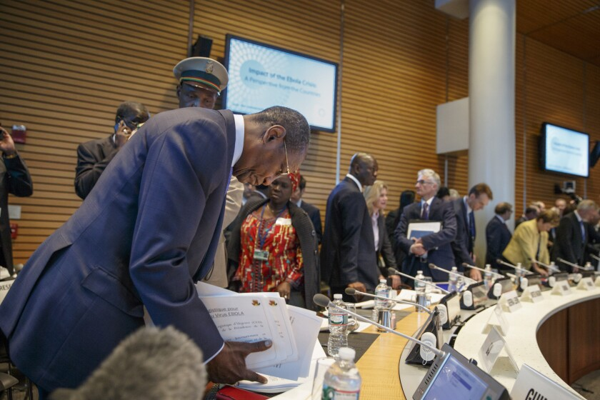 President of Guinea Alpha Conde arrives Thursday to meet with the heads of the United Nations, the International Monetary Fund and the World Bank to discuss the Ebola outbreak and what help is needed by the West African nations that are stricken with the outbreak.
