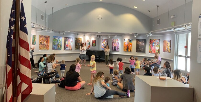 Youth Services Librarian Rebecca Smith and Library Assistant Cari Edwards lead the Dance Party for toddlers on the second Thursday of every month in the library's Community Room. Thursday mornings feature a variety of activities for young readers.