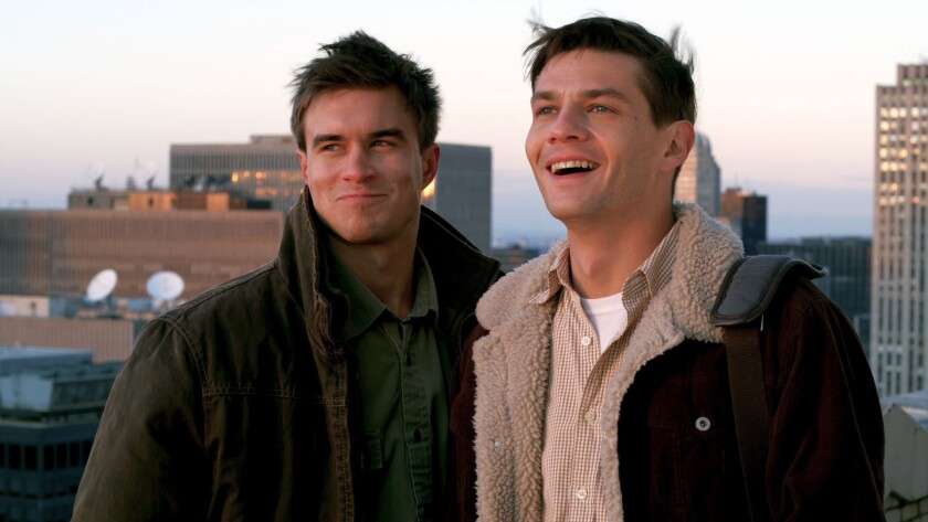 "Rob Mayes, left, and Trent Ford in the movie ""Burning Blue."""