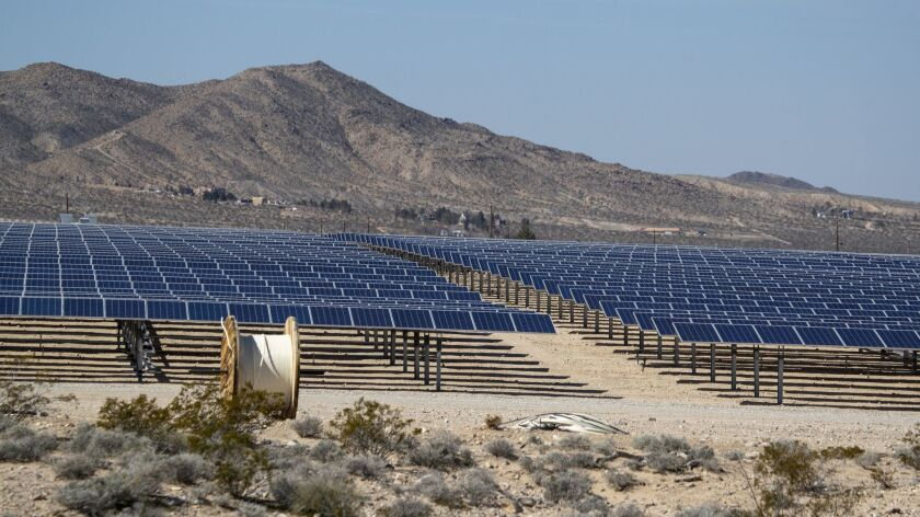 A view of a smaller-scale commercial solar project in Lucerne Valley, Calif. on Feb. 25.