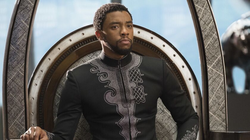 """This image released by Disney shows Chadwick Boseman in a scene from Marvel Studios' """"Black Panther."""