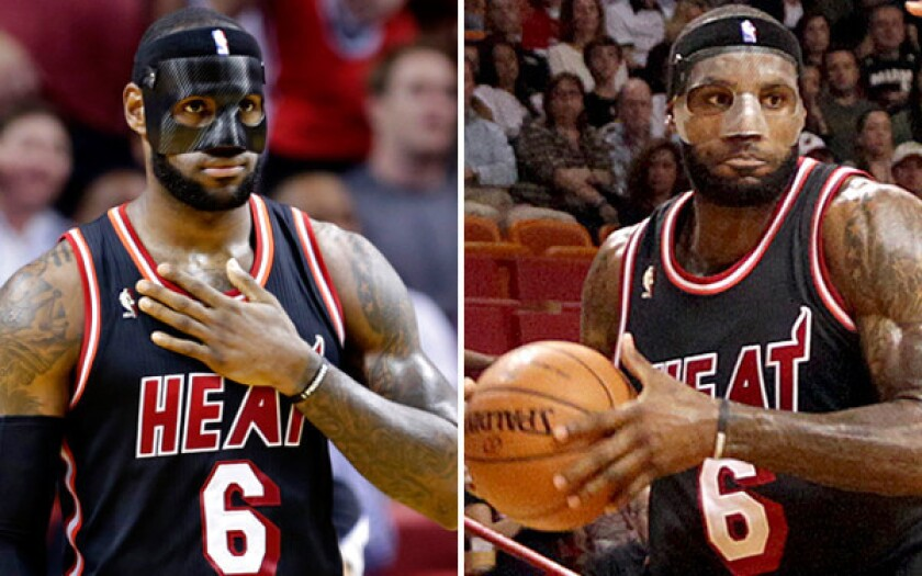 LeBron James claims the black, carbon-fiber mask is more comfortable than the clear shield.