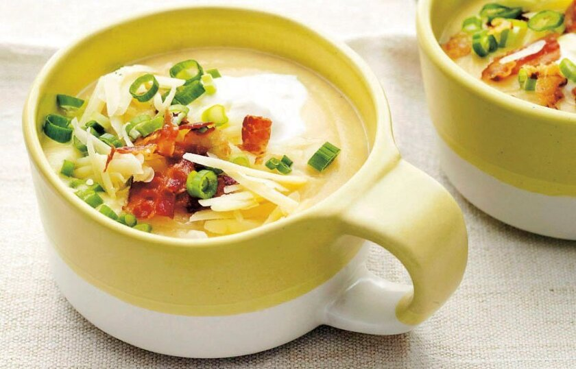 "Melissa d'Arabian's Creamy Cauliflower ""Baked Potato"" Soup subs cauliflower for most of the potato."
