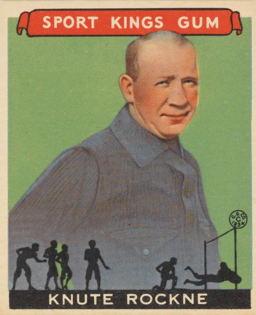 """This image provided by the Metropolitan Museum of Art shows legendary football player and coach Knute Rockne in a 1933 vintage """"Sport Kings"""" card produced by the Goudey Gum Company. The card is part of an exhibit called """"Gridiron Greats"""" on view at the Met Jan. 24-Feb. 10 that includes 150 cards from the Jefferson R. Burdick Collection, plus rare photos of early teams. The show is one of a number of attractions in New York City of potential interest to Super Bowl visitors in town for the big game. (AP Photo/The Metropolitan Museum of Art, The Jefferson R. Burdick Collection)"""
