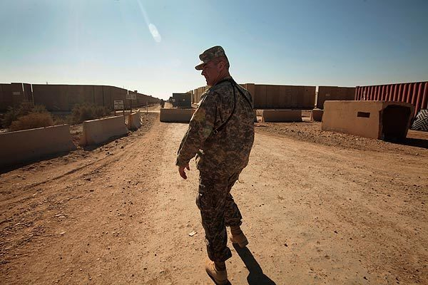 Col. Rick Kaiser is in charge of the transition of equipment and personnel out of Iraq through Camp Adder, the last stop in the south before crossing into Kuwait. The camp has gone from 12,000 American soldiers to 2,000, and will soon be turned over to the Iraqi military and become an Iraqi Air Force base.
