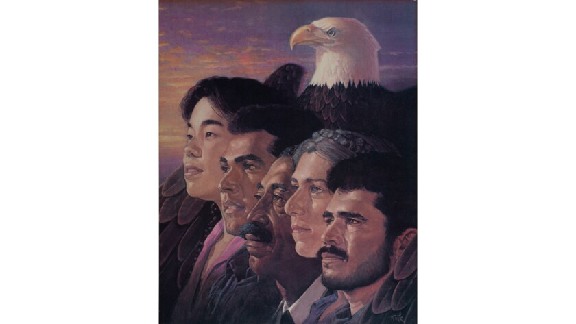 An image showing five multicultural faces protected by the wings of a bald eagle was designed by the Orcís for a campaign they did in 1986 for the U.S. Immigration & Naturalization Service account.