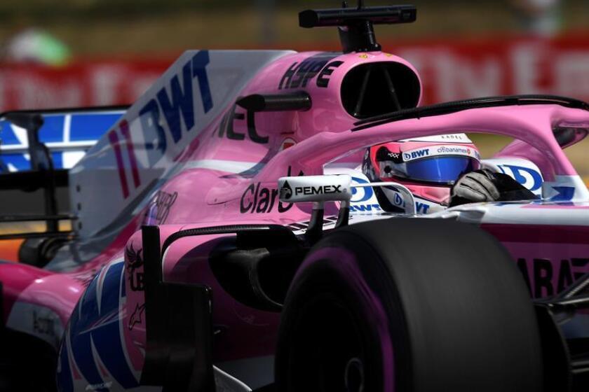 El piloto mexicano Sergio Pérez de Force India durante la tercera sesión de los entrenamientos libres en el Hungaroring, sede del Gran Premio de Hungría. EFE