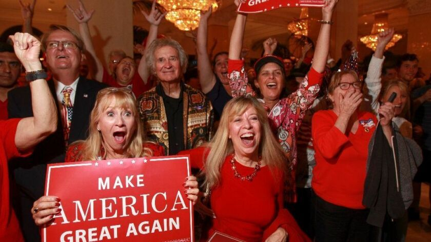 Trump supporters erupt in cheer after it was announced the Donald Trump is the projected winner of the 2016 presidential election at the Republican election night headquarters at the U.S. Grant Hotel in downtown San Diego.