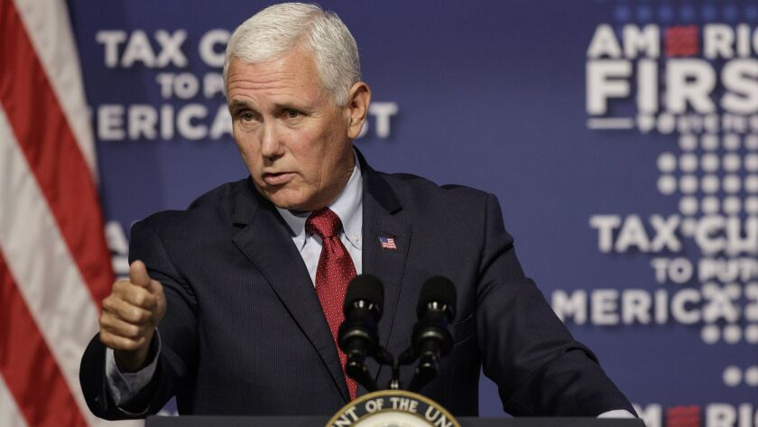 Vice President Mike Pence speaks at a tax policy event hosted by America First Policies at Lee Unive