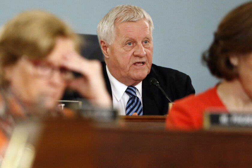 FILE - In this Feb. 27, 2019 file photo, House Agriculture Committee Chairman Rep. Collin Peterson, D-Minn., asks a question on Capitol Hill in Washington. Veteran representatives facing tight reelections in include Peterson of Minnesota and Steve Chabot of Ohio. (AP Photo/Jacquelyn Martin, File)