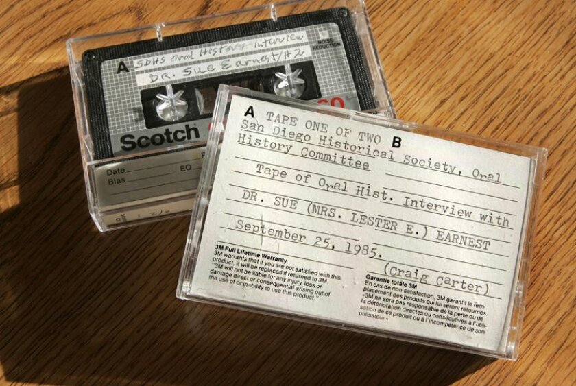 Cassette tapes provided by the San Diego Historical Society will be transcribed by Hassan. Transcriptions of the oral histories collected by the society are available at its archives in Balboa Park.