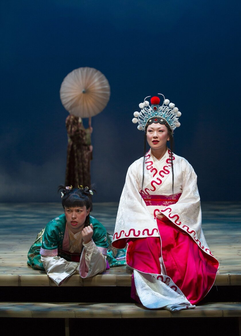Tanya Thai McBride and Amy Kim Waschke star in the McCarter Theatre Center production of 'The White Snake.' The Old Globe's production runs March 21-April 26.