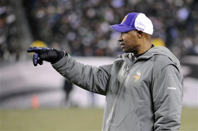 Minnesota Vikings interim coach Leslie Frazier directs his team in the second half of an NFL football game against the Philadelphia Eagles, Tuesday, Dec. 28, 2010, in Philadelphia. Minnesota won 24-14. (AP Photo/Miles Kennedy)