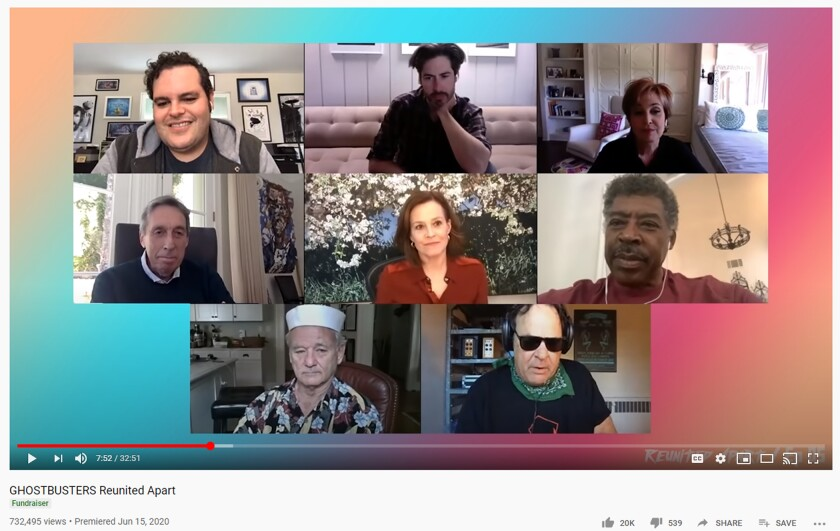 """Josh Gad interviews the makers of the 1983 """"Ghostbusters"""" for the YouTube fundraising series """"Reunited Apart."""""""
