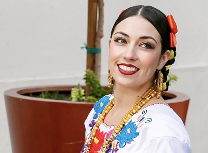 Maestra Kareli Montoya of Ballet Folklorico de Los Angeles is featured in the Carpenter Performing Arts Center's Cinco de Mayo celebration.