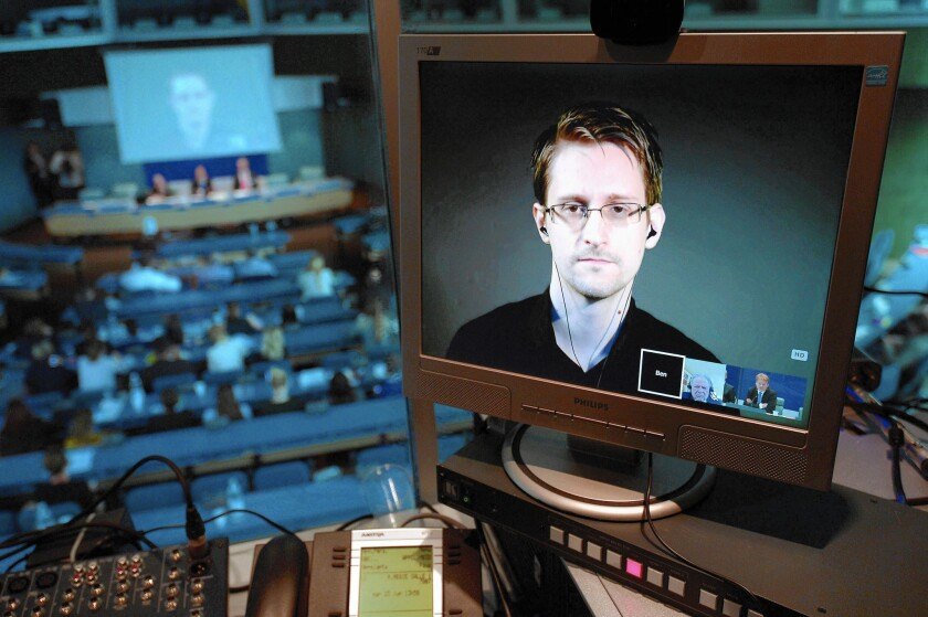 Former National Security Agency contractor Edward Snowden is seen in June via a live video link from Russia during a hearing at the Council of Europe in Strasbourg, France.
