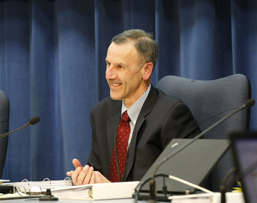 San Diego Schools Superintendent Bill Kowba at a school board meeting Tuesday night. Kowba has announced his intent to retire by June 30.