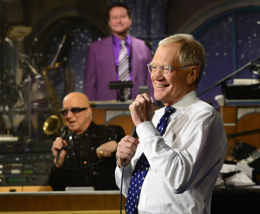 """David Letterman appears during the final taping of """"Late Show with David Letterman"""" on Wednesday in New York."""