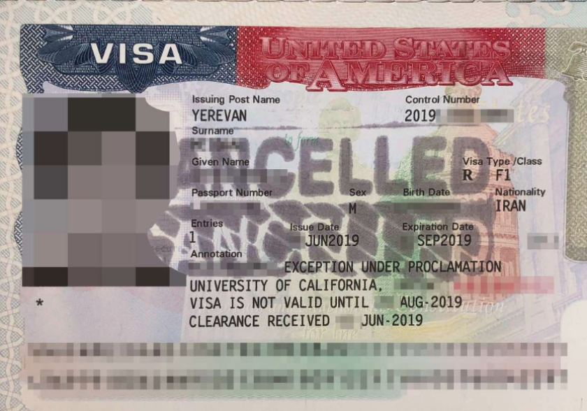 Nearly 20 Iranian students who had planned on starting graduate studies in fields such as computer science and engineering said their visas were suddenly revoked over the last few weeks. They were marked canceled like the visa above.