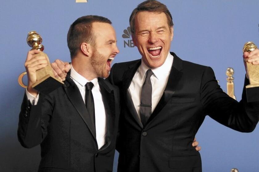 Aaron Paul and Bryan Cranston at Golden Globes