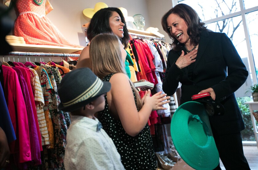 Sen. Kamala Harris visits a clothing store Saturday in Columbia, S.C.