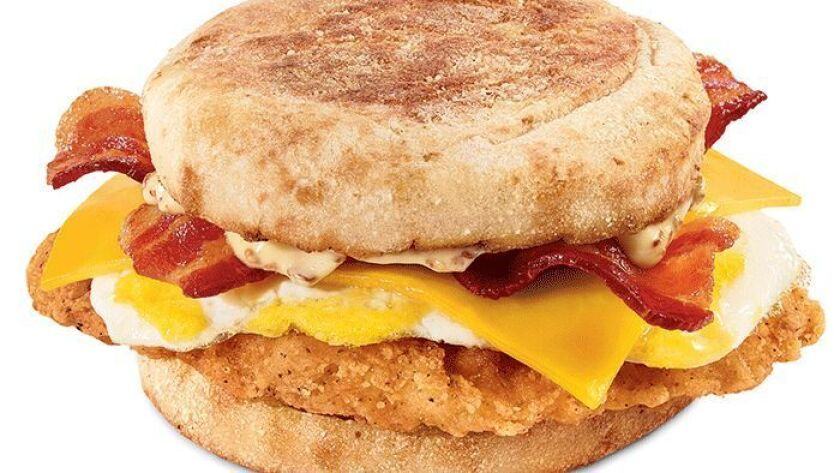 In a test primarily in Southern California, the fried chicken sandwich -- layered with a fried egg, bacon and cheese -- has become one of the top brunchfast sellers.