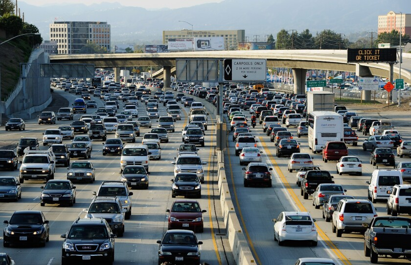 Traffic comes to a standstill on the northbound and the southbound lanes of the 405 Freeway near Los Angeles International Aiprort.
