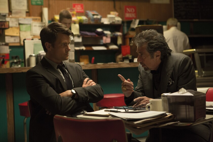 "Josh Duhamel, left and Al Pacino star in ""Misconduct."""