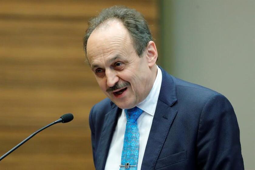 El embajador de la Unión Europea en México, Klaus Rudischhauser, durante una conferencia de prensa. EFE/Archivo