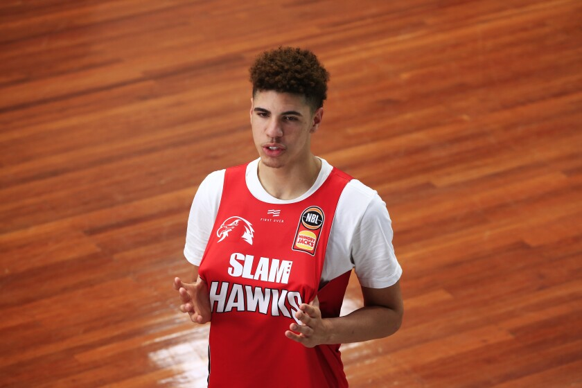 LaMelo Ball prepares for a training session with the Illawarra Hawks on Aug. 21, 2019, in Wollongong, Australia.