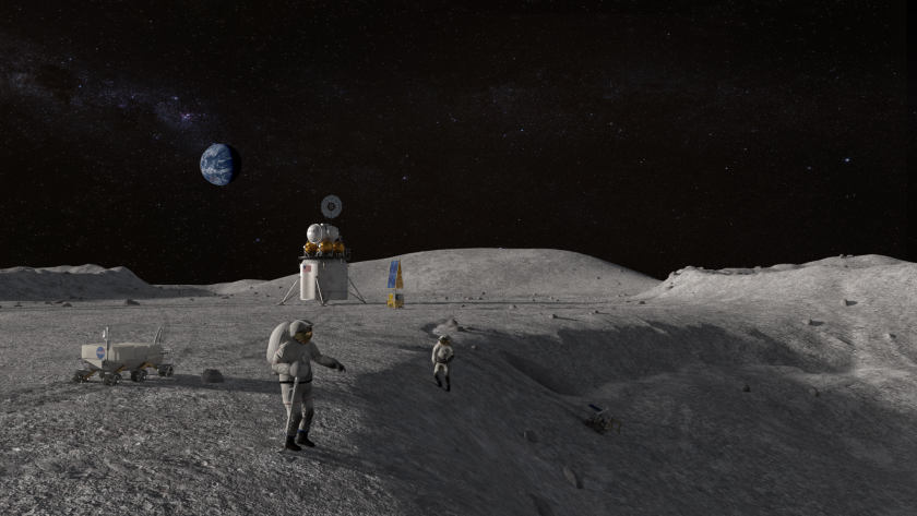 An illustration of astronauts at work on the moon as part of the Artemis mission.