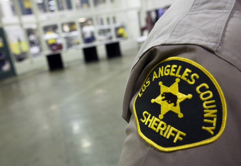 A Los Angeles County sheriff's deputy inside the Twin Towers Correctional Facility.