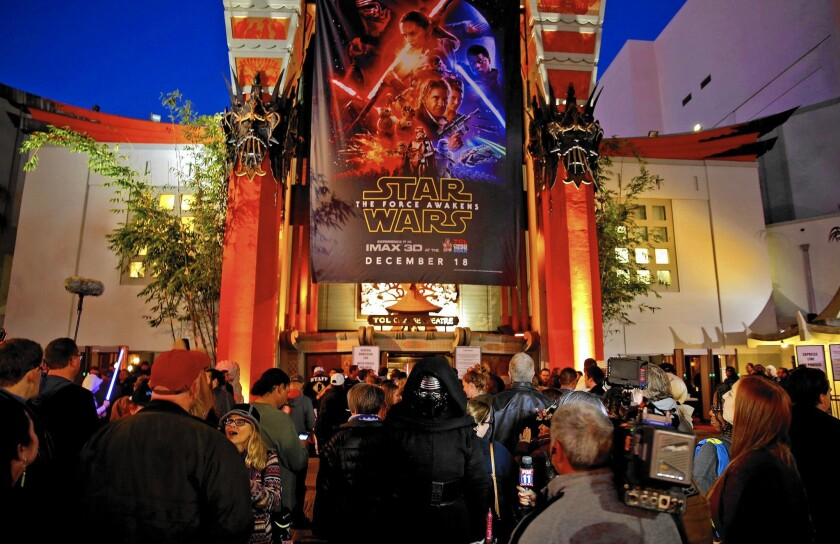 """Star Wars: The Force Awakens"" sold a record $57 million in tickets Thursday. Above, fans at the TCL Chinese Theatre."
