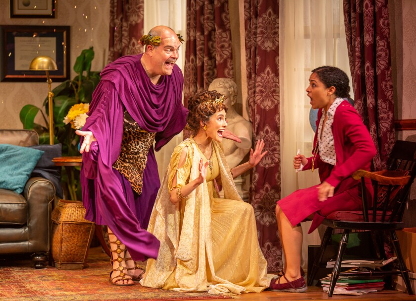 "Brad Oscar as Dionysus, Jessie Cannizzaro as Thalia and Shay Vawn as Daphne (from left) in ""Ken Ludwig's The Gods of Comedy"" at the Old Globe Theatre."