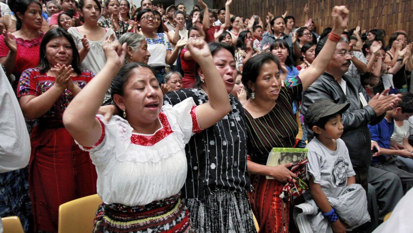 Mayan survivors of the Guatemalan genocide cheer the guilty verdict against dictator R'os Montt. He