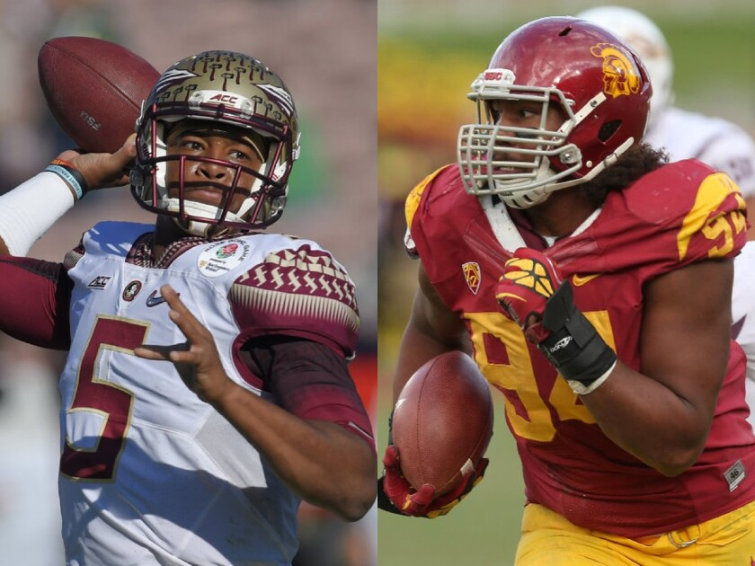 Florida State's Jameis Winston and USC's Leonard Williams were the first two picks in The Times' NFL beat writers' mock draft.