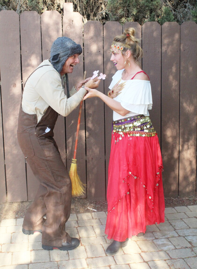 """Keith Duell (as the groundskeeper) and Kimberly Justice (as the gypsy) in the murder mystery """"One, Two, Three. Look Its Me!"""""""