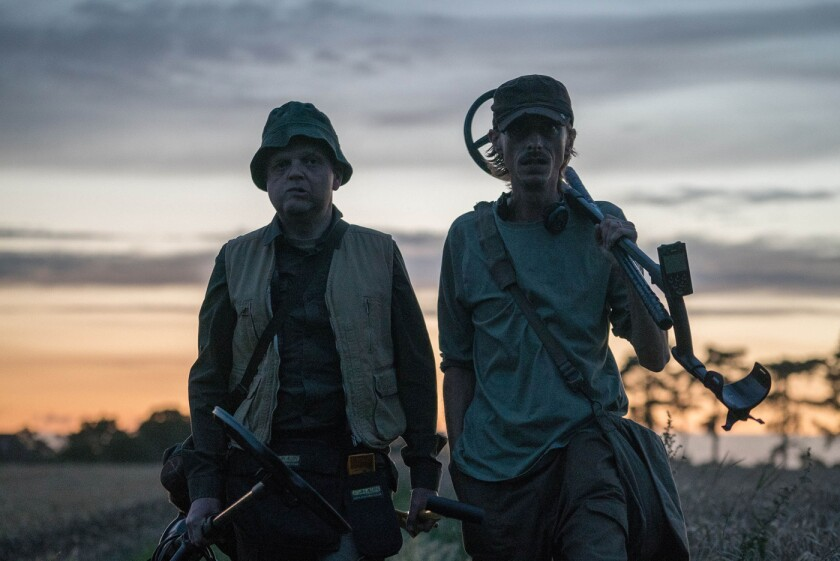 """Toby Jones, left, and Mackenzie Crook play men in search of Saxon gold in the British comedy """"Detectorists,"""" whose second season is now streaming via Acorn TV."""