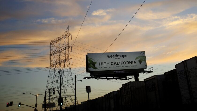 VERNON, CA JULY 19, 2017: A billboard advertising Weedmaps in Vernon, CA July 19, 2017. Maywood,