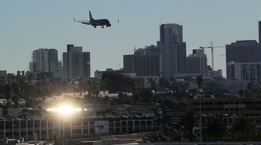 A Southwest jet on approach to San Diego International Airport.