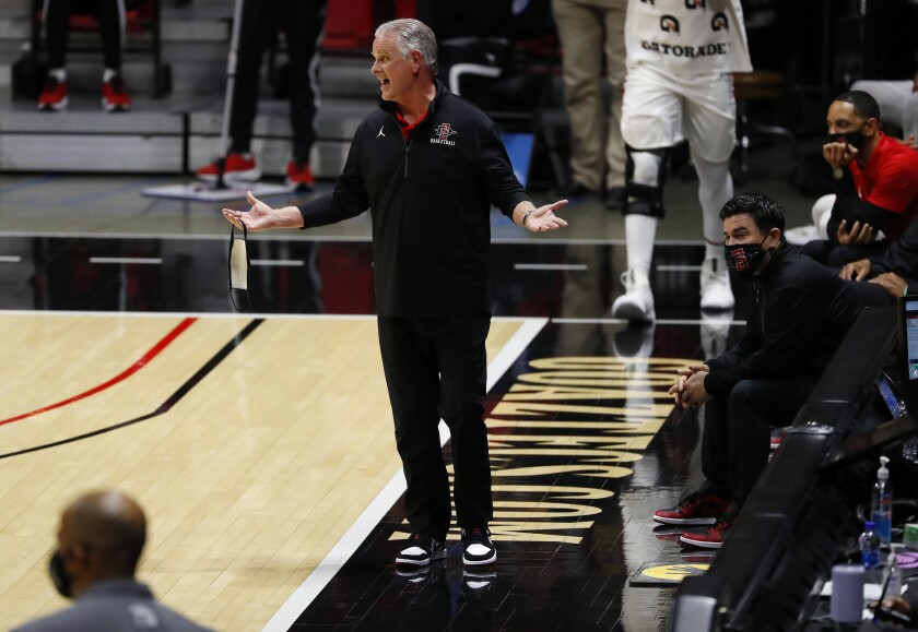 San Diego State coach Brian Dutcher was called for a technical foul against San Jose State.