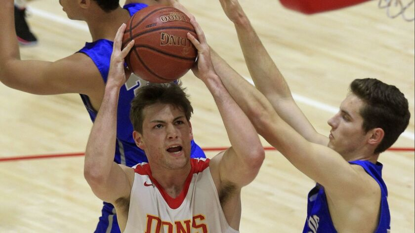 Cathedral Catholic's Thomas Notarainni (shown in a game last season) scored key points down the stretch in the Dons' win over St. Augustine on Tuesday.