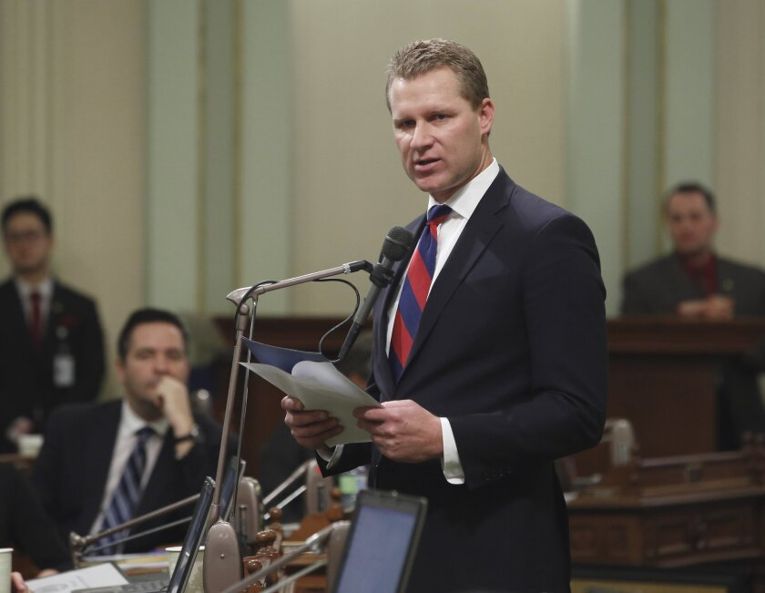 Assembly Minority Leader Chad Mayes (R-Yucca Valley) speaks in the Capitol on Jan. 11, 2016.