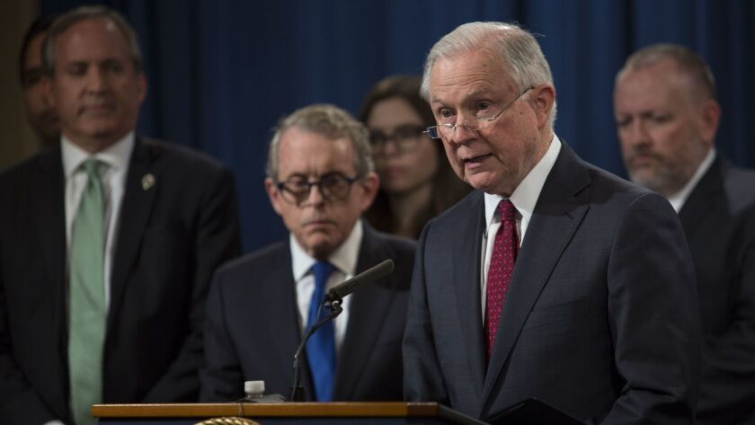 U.S. Atty. Gen. Jeff Sessions on Tuesday introduced the Prescription Interdiction Litigation task force aimed at fighting the opioid epidemic.