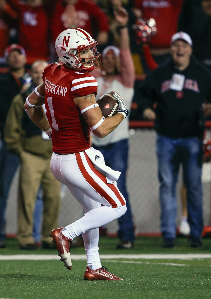 Nebraska wide receiver Jordan Westerkamp (1) scores a touchdown during the first half of an NCAA college football game against Michigan State in Lincoln, Neb., Saturday, Nov. 7, 2015. (AP Photo/Nati Harnik)