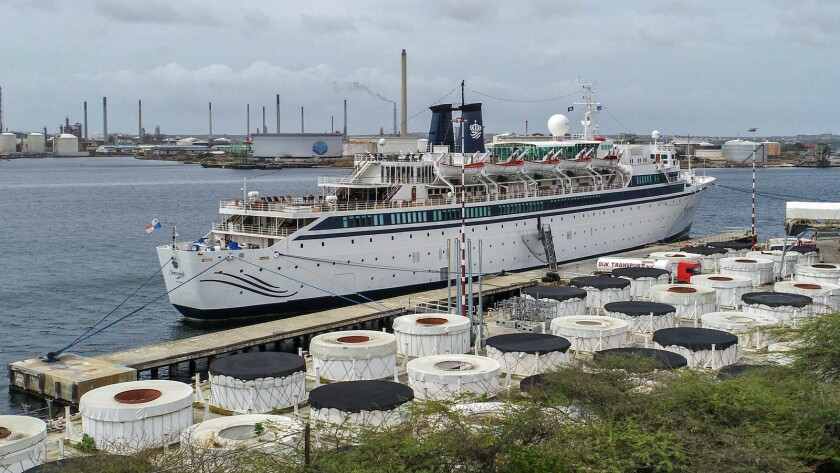 The Scientology cruise ship Freewinds is anchored in Willemstad, Curacao, last week, quarantined because of a measles case.