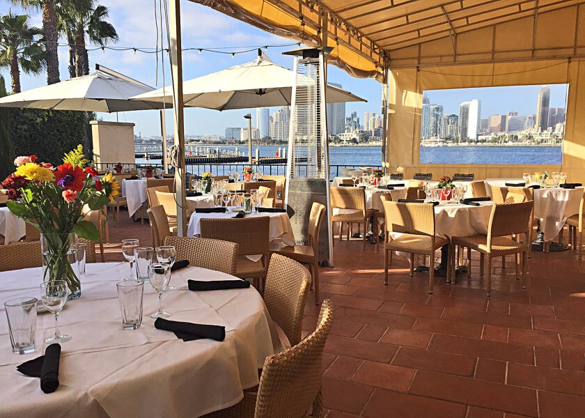 Il Fornaio Coronado's patio has a vista of downtown San Diego's skyline.