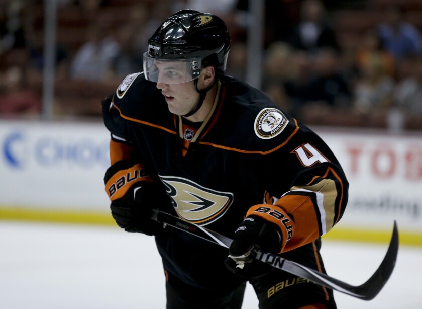 Ducks defenseman Cam Fowler suffered a leg injury in practice but is not expected to miss the team's regular-season opener Oct. 9 in Pittsburgh.